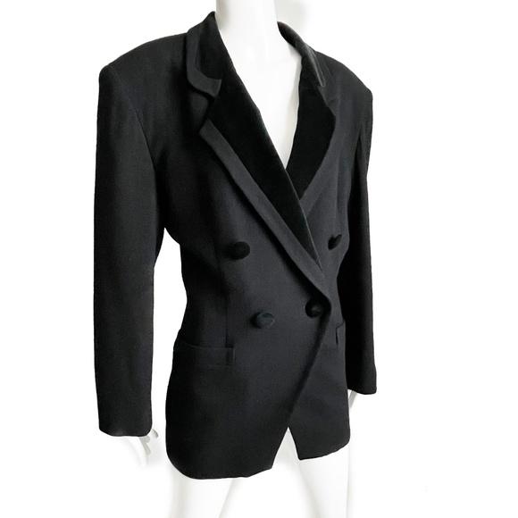 Vintage Christian Dior Black Tuxedo Jacket Wool